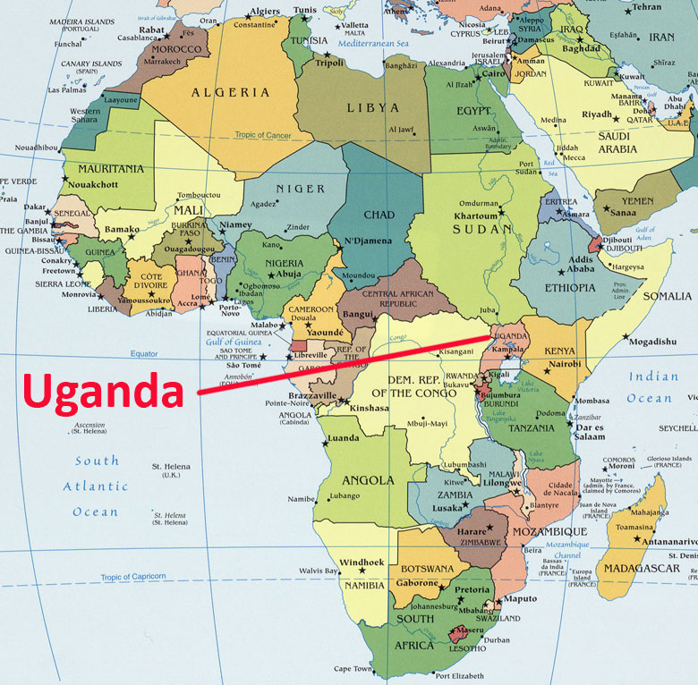 Map of Afica - emphasis on Uganda - U-TOUCH.org